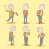 Old man has different problem. Cartoon old man has different problem , great for your design Stock Photography