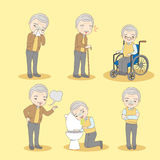 Old man has different problem. Cartoon old man has different problem , great for your design Royalty Free Stock Image