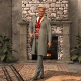 Old man with hat and jacket cg stock image