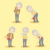 Old man have body aches Stock Photos