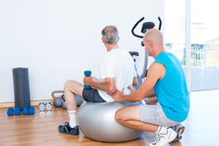 Old man having back massage on exercise ball Stock Photography