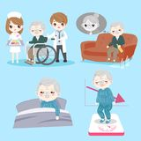 Old man with health problem. On the blue background royalty free illustration