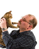 Old man with his cat Royalty Free Stock Image