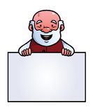 Old man holding a blank sign. And smiling Royalty Free Stock Images
