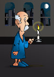 Old man holding a candle Stock Images