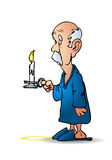Old man holding a candle Stock Photography