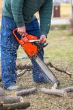 Old man holding orange chainsaw with his bare hands and cutting a branch placed on the ground. Orange chainsaw in action.  royalty free stock photos