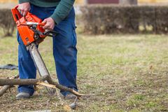 Old man holding orange chainsaw with his bare hands and cutting a branch placed on the ground. Orange chainsaw in action.  stock images