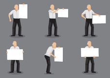 Old Man Holding Placard Vector Illustration Stock Image