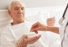 Old man in hospital Stock Photos
