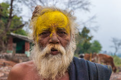 An old man of Indian traditional face paint Royalty Free Stock Images
