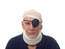 Old man with injured head and neck Stock Photos