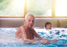 Old man in jacuzzi Royalty Free Stock Image