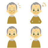 Old man, joyful, angry, weep Stock Image