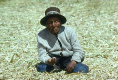 Old man, Lake Titicaca Stock Photos