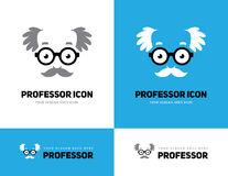 Old man logo. Grey haired old man face in round glasses icon. Professor, teacher or scientist logo. Grandpas face symbol Stock Photo