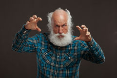 Old man with a long beard with big smile. On a dark background stock photography