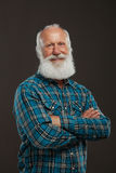Old man with a long beard with big smile Stock Photo