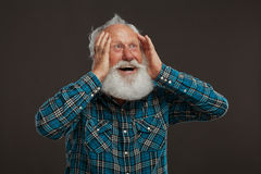 Old man with a long beard with big smile Royalty Free Stock Images