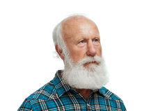Old man with a long beard. On a white background stock photo