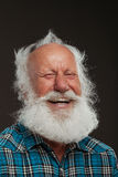 Old man with a long beard wiith big smile. On a white background stock images
