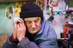 Old man looking sad Stock Image