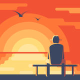 Old man looks at the sunset. Elderly man in a hat on the bench. Seascape sunset. Landscape with red sky, the sun reflected in the ocean. Concept vector Stock Images