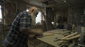 The old man male carpenter stock video
