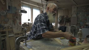 The old man male carpenter stock footage
