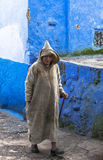 A old man at Medina of Chefchaouen, Morocco Stock Photo