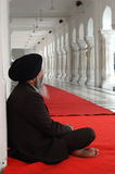 Old man meditating inside famous religious landmark of Punjab - Golden Temple,Amritsar Stock Photos