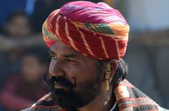Old man at moustache competition at Pushkar cattle fair ,Rajasthan,India Royalty Free Stock Photos