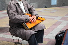 Old man with the musical instrument Gusli Royalty Free Stock Photos