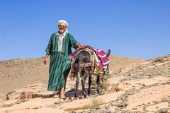 Old man in national Moroccan clothes. Guide with a donkey.