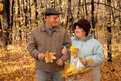 Old man and old woman walk in autumnal forest Royalty Free Stock Photo