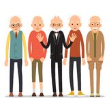 Old man. Older man character in various poses. Man in suit, shir. T and tie. Set cartoon illustration isolated on white background in flat style Stock Image