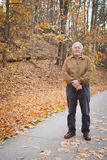 Old Man Outside in the Fall Royalty Free Stock Images