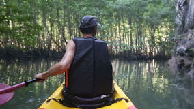 Old man paddles on kayak in canyon among mangrove jungle. Old man in life-vest back-side view paddles on kayak down river in canyon among cliffs and mangrove stock video