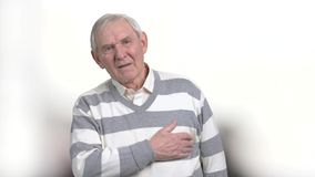 Old man with painful feelings in chest. Senior man with atherosclerotic cardiovascular disease. Identify different types of chest pains stock video footage