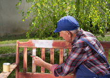 Old man painting bench in garden. Senior man in overalls painting old bench in park after sandblasting. Repairing old furniture Stock Photo