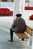 Old Man On Park Bench. Old man sitting at the far edge of a park bench.  View from back Royalty Free Stock Image