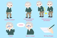 Man with parkinson disease. Old man with parkinson disease on the blue background vector illustration