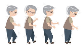 Old man with Parkinsons symptoms. Difficult walking stock illustration