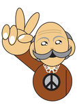 Old man with peace sign illustration Royalty Free Stock Image