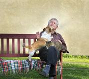 Old man with pets. Senior man with dog and cat on his lap on bench Stock Image
