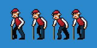 Old man pixel art style walking cycle animation. Isolated vector illustration