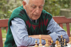 Old man  playing chess. In the garden Stock Image