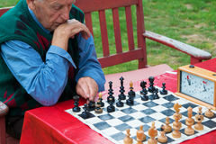 Old man playing chess in the garden Royalty Free Stock Photos