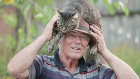Old man playing with fluffy cat, arrange pet on his head, outdoor. UHD 4K stock video