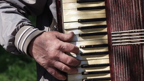 Old man plays on old accordion stock footage
